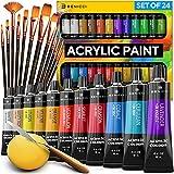 Complete Acrylic Paint Set – 24х Rich Pigment Colors – 12x Art Brushes with Bonus Paint Art...