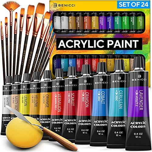 Complete Acrylic Paint Set – 24х Rich Pigment Colors –...