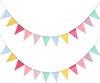 2 Pieces Rainbow Colorful Linen Party Banner Eid Decoration Happy Birthday Decoration Festival Ramadan Christmas Engagemen...
