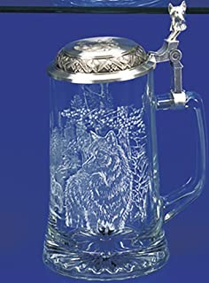 James Meger Glass Timber Wolf Stein German Beer Glass Stein