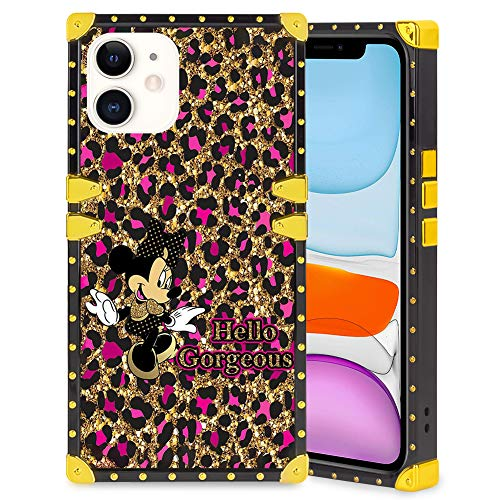 DISNEY COLLECTION Square Case Compatible iPhone 11 6.1 Inch (2019) Cute Minnie Luxury Elegant Soft TPU Full Body Shockproof Protective Case Metal Decoration Corner Back Cover