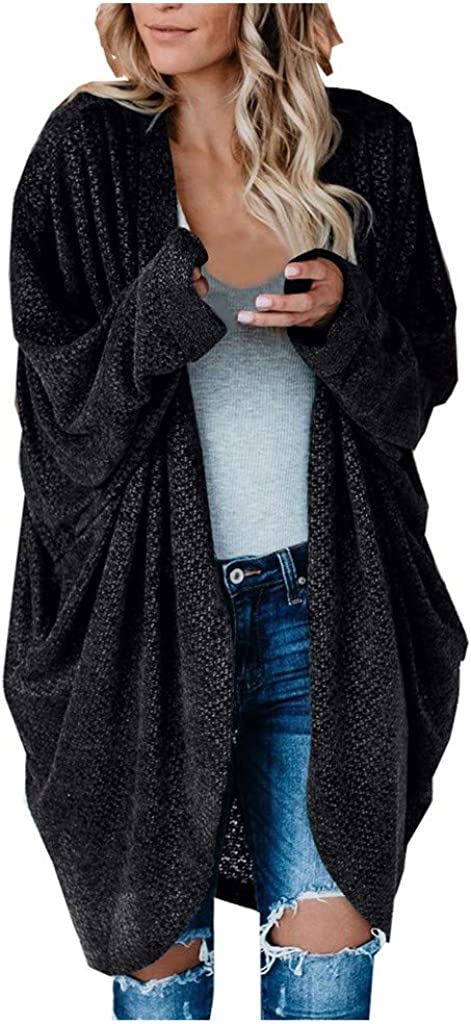 Forthery-Women Kimono Batwing Cable Knitted Slouchy Oversized Wrap Cardigan Sweater Casual Loose