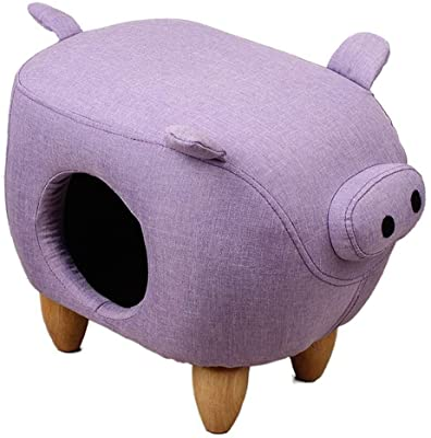 スツール フットスツールオットマンプーフ木製フレーム黄麻布猫の巣通気性滑り止めすべての季節に適した、3色 GAOFENG (Color : Purple, Size : 50*32*39cm)