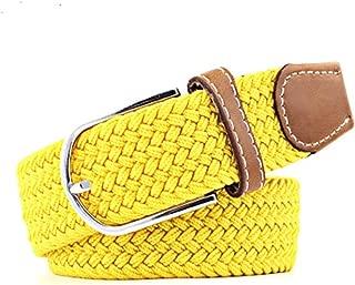 SGJFZD Men's and Women's Canvas Woven Elastic Pin Buckle Belt Personality Fashionable Student Belt Belt (Color : Yellow, Size : 105cm)