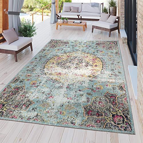 TT Home Moderner Outdoor Teppich Wetterfest für Innen & Außenbereich Boho Style In Multifarben, Größe:80x250 cm