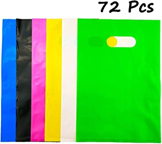 Etmact 72pcs Assorted Colored Plastic Glossy Merchandise Bags Shopping Bags Gift Party Favor Bags with Handles, 20cm x 30cm