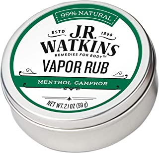 JR Watkins Natural Menthol Camphor Vapor Rub, Single, Chest Vaporub for Flu and Cold Relief, Decongestant for Stuffy Nose, USA Made and Cruelty Free, 2.1oz