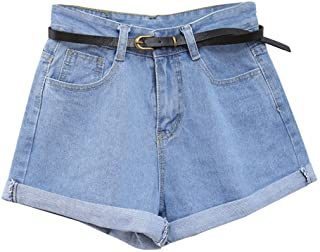 cf347a9257dca6 Guiran Donna Pantaloncini di Jeans Denim Shorts Vita Alta Pantaloni Corti