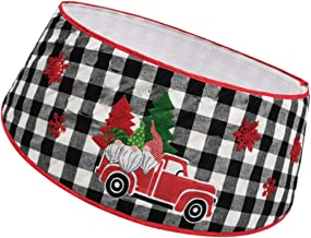 VALICLUD Christmas Tree Collar Skirt Red Truck Plaid Xmas Ring Base Basket Under Ornament Tree Stand Cover Floor Mat Rug f...