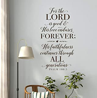 WSYYW Because The Lord is Kind, His Love Will Endure The Christian Wall Decoration Stickers Bible Psalms Psalms 100:5 Scripture Wall Decals Family Garden Wall Stickers Black 75x42cm