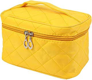 DZT1968 Women Square Case grain Of Pure Color Toiletry Bag Multifunction Hanging Cosmetic Bag Portable Organizer Makeup Bags Pouch Handbag (Yellow)