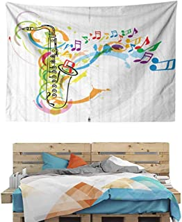 HuaWuChou Saxophone Wavy Notes Art Tapestry Wall Hanging, Tapestries Hanging for Decor Bedroom Dorm Bedspread Picnic Blanket, 80W x 59L Inches