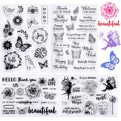 4 Pieces Silicone Clear Stamps Transparent Scrapbooking Stamps Spring Theme Clear Stamps with Butterfly Flower Bird Pattern Designs for Card Making Scrapbooking Embossing Album Decor