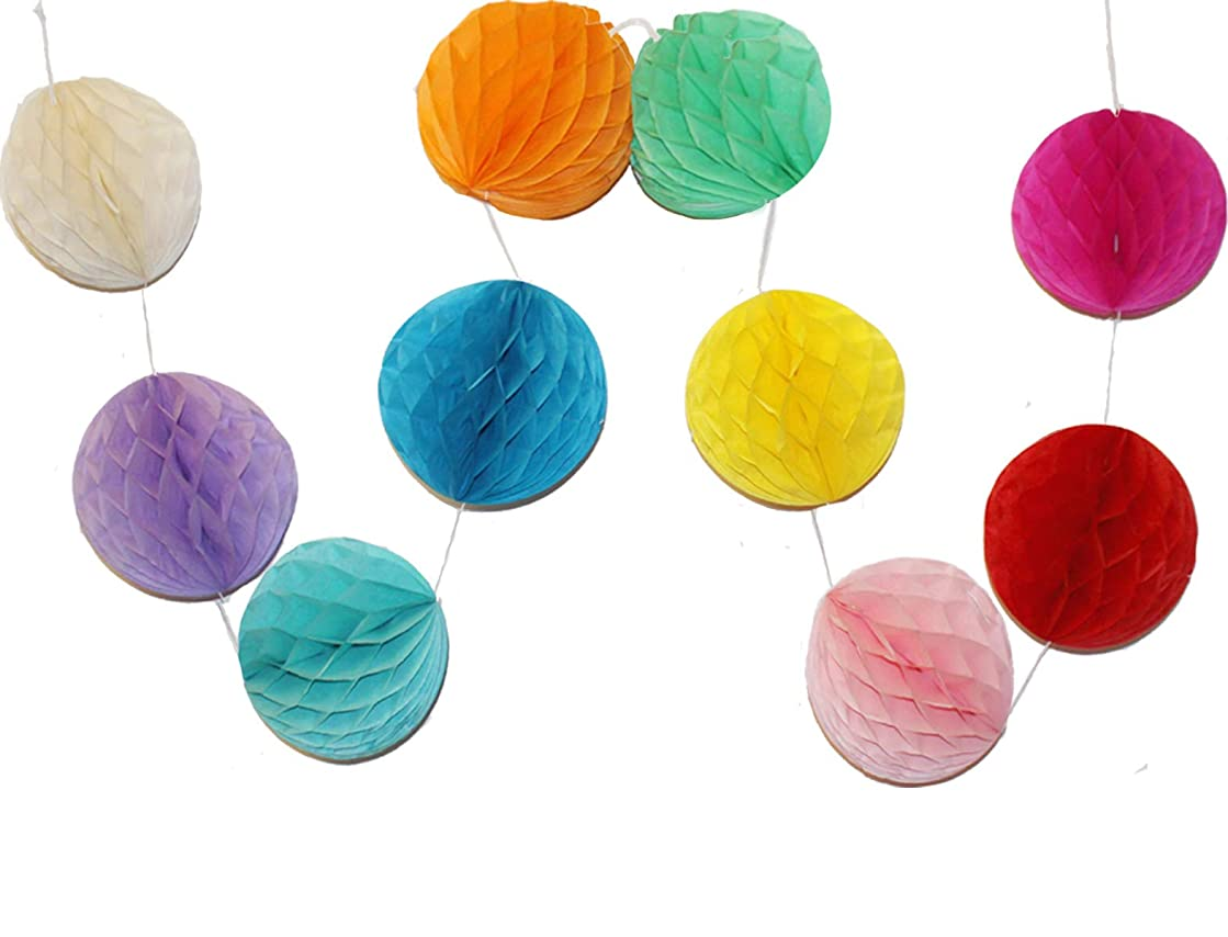 LG-Free 10pcs 8 inch Paper Honeycomb Balls String Multi-Color Hanging Party Flower Balls Decorations Tissue Paper Pom Poms Balls for Wedding Baby Shower Party Room Home Christmas Decor(String Ball)