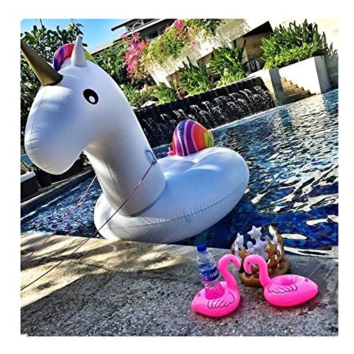 Schwimmtier Einhorn Aufblasbarer Getränkehalter Pool Floß Spielzeug Outdoor-Pool Swimming Pool Toys Schwimm-Ringe für Erwachsene & Kinder