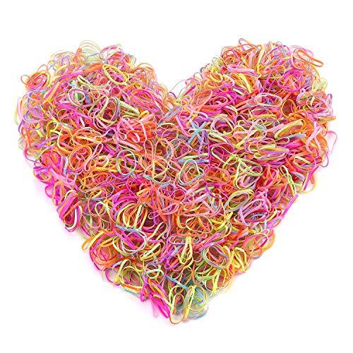 2000 pezzi mini cravatta per capelli sottile set colorato per bambina fini, fai da te piccola treccia elastica in gomma porta capelli multicolore elastici loombands loom bande per giochi per bambini
