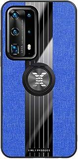 Fanxwu Compatibel met Huawei P40 Lite Hoesje Textuur Patroon Beschermende Cover 360 ° Roterende Metalen Ring Anti-kras Bes...