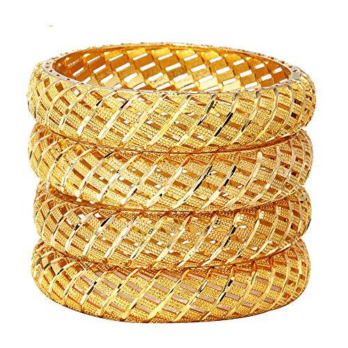 4 Stück/Los Neue Breite Damen Braut Armreif Kollektion Exklusive Goldene Farbe Designer Schmuck Arabische Armreifen Armbänder