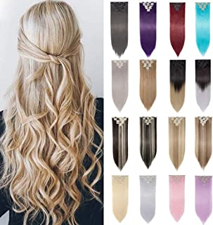 S-noilite Full Head Clip in Hair Extensions Diy Dye Ombre 2 Tones 8 Pcs Straight Curly Black Brown Blonde (26