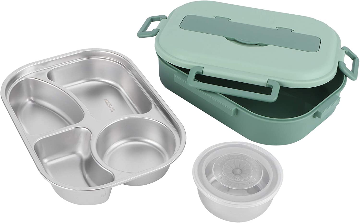 Bento Box Al sold out. 304 Max 64% OFF Stainless Lunch Steel Compartment