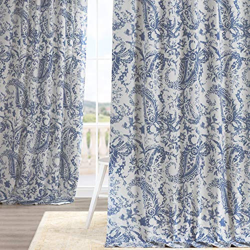 HPD Half Price Drapes PRCT-D09E-96 Printed Cotton Curtain (1 Panel), 50 X 96, Edina Washed Blue