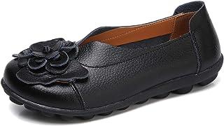 Gaatpot Femmes Cuir Mocassins Casual Respirant Bateau Chaussures Plates Loafers Chaussures de Conduite Sandales