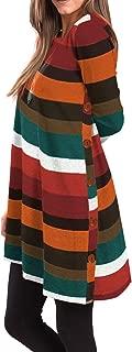 iGENJUN Women's Long Sleeve Scoop Neck Button Side Sweater Tunic Dress