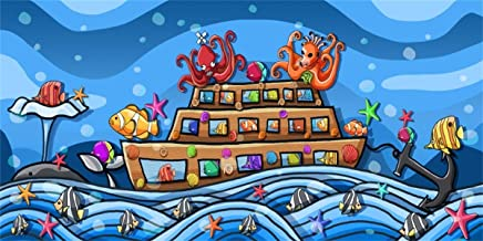 BuEnn 20x10ft Fondo Submarino Dibujos Animados Naufragio Vinilo Fotografía Fondo Divertido Pulpo Fiesta cumpleaños Niños Adultos Retrato artístico Escena Dibujos Animados Accesorios Video Digital