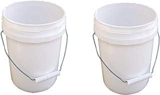 Encore Plastics 10128 Industrial Plastic Pail White with Handle, 1-Gallon, 2 Pack