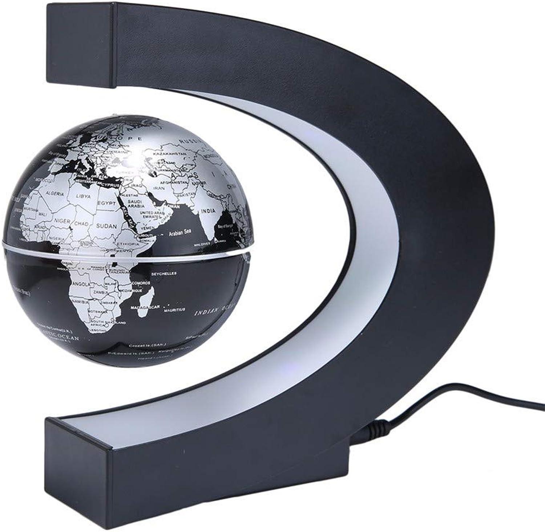 SSJY-LIGHTING LED Globus Welt Karte Schwebende Tabelle Nachtlicht Magnetschwebebahn Antigravitation Magie Schreibtischlampe Für Geburtstagsgeschenk Home Dekoration,schwarz