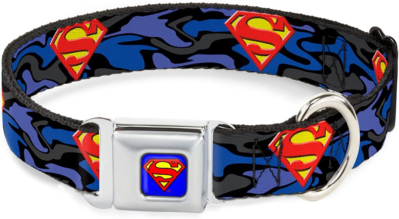 BuckleDown DCWSM005WM Dog Collar Seatbelt Buckle, Superman Shield Camo bluee, 1.5  by 1623