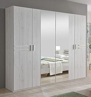 PEGANE Armoire de Rangement chêne Blanc/Chrome Brillant 225 X 210 X 58 cm
