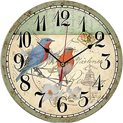WWJ Traditional Country Retro Floral/Botanicals Characters Music Wall Clock Round Indoor/Outdoor Clock