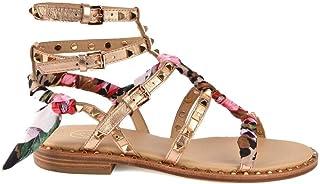 8c46043c0e3971 Ash Footwear Pax Sandales Plates, Sandales en Cuir Rose doré, Sandales à  Clous dorés