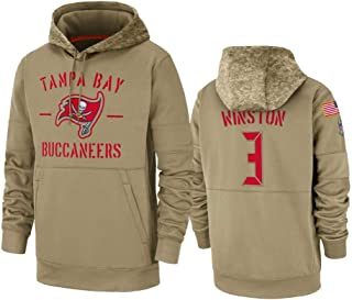 Dunbrooke Apparel Tampa Bay Buccaneers #3 Jameis Winston Tan 2019 Salute to Service Sideline Therma Pullover Hoodie