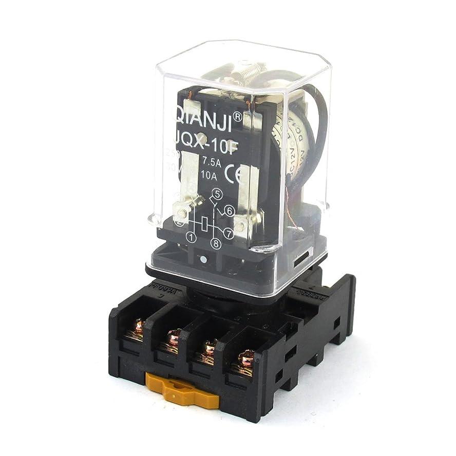 行くなぞらえるひいきにするuxcell 電磁リレー 一般リレー ソケット付き 継電器 DC 12V 8端子 DPDT 2 NO 2 NC