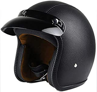 Schwarz S-XXL 55-64Cm Damen Und Herren Jet-Helm Scooter-Helm ECE Genehmigt XTGFDC PU Leder Offenes Sommer Atmungsaktiv Motorradhelm