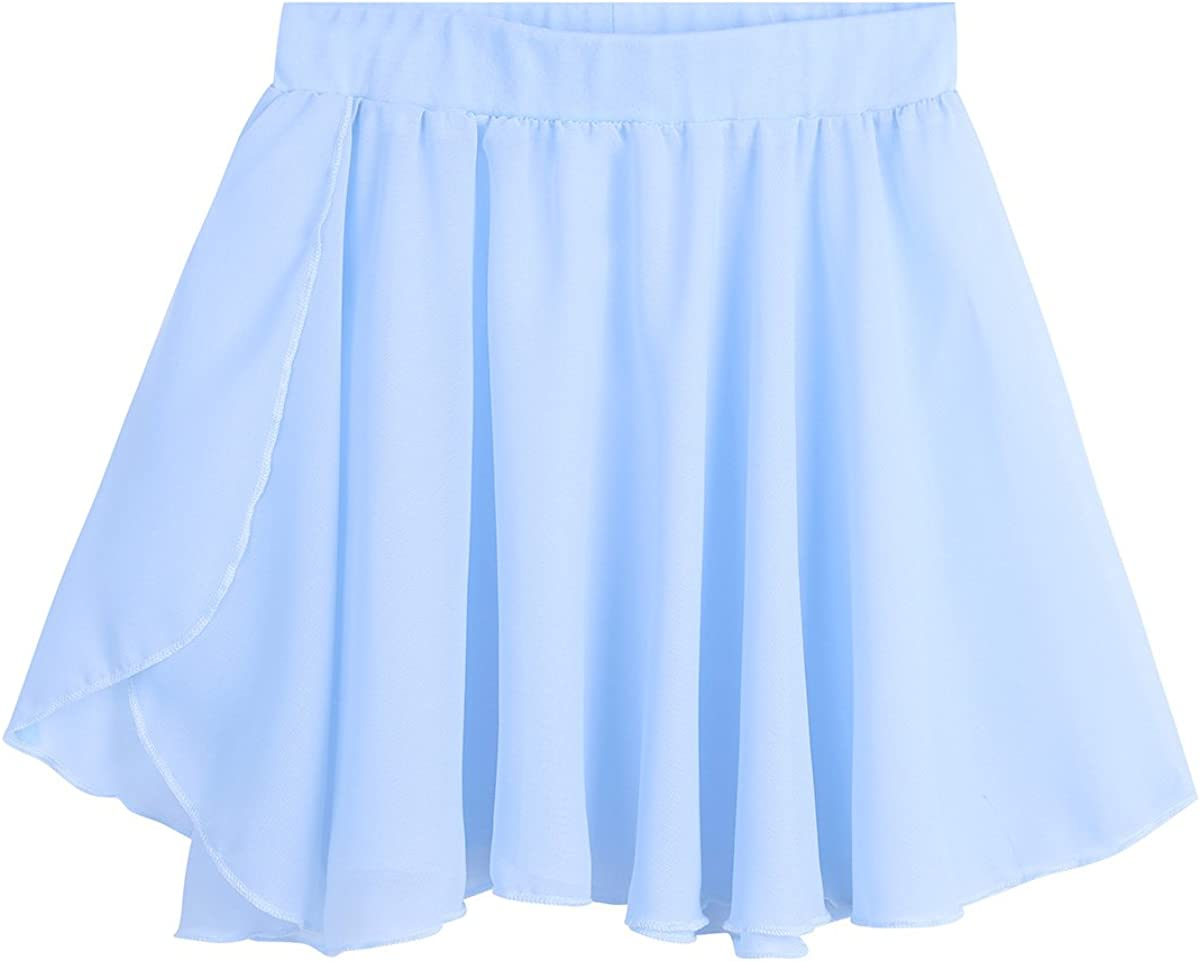 zdhoor Kids Girls Ballet Wrap Skirts Chiffon Dance Pull-On Mini Active Skirt Classic Basic Yoga Dancewear
