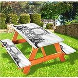 LEWIS FRANKLIN - Cortina de ducha victoriana de lujo para picnic, mantel, diseño antiguo romano con borde elástico, 28 x 72 pulgadas, juego de 3 piezas para mesa plegable