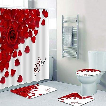 Red Wine Glass Rose 3D Digital Printing Shower Curtain Carpet Mat Toilet Cushion