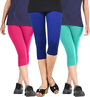 Pixie Capri Leggings | 3/4th | Pants | Combo Pack of 3 for Women/Girls/Ladies (Pink, Blue and Turquoise) - Free Size