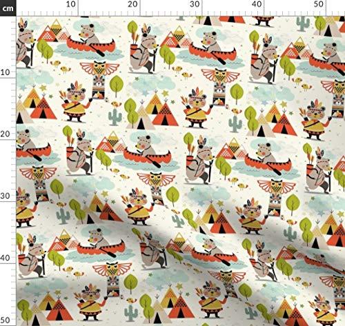 Südwesten, Bären, Zelten, Indianer, Wandern, Totem Stoffe - Individuell Bedruckt von Spoonflower - Design von Michelle Luu Gedruckt auf Baumwollstoff Klassik