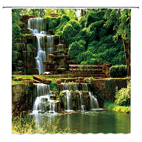 Lileihao Waterfall Scenery Shower Curtains Natural Landscape Green Plant Leaf Water Stone Pattern Bathroom Decor Polyester Fabric Home Bath Cloth Hanging Curtain Set 70 x 70 Inch with Hooks