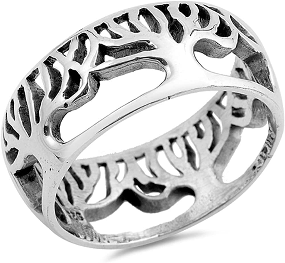 In a popularity Eternity Tree San Diego Mall of Life Cutout Silver .925 Ring Filigree Sterling