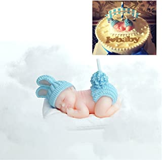 FLYPARTY Children's Birthday Candles with Greeting Card,Handmade Adorable Sleeping Baby Smokeless Baby Shower Baby Birthday Cake Topper Candle , Baby Shower Party Favors Decorations (Blue Boy)