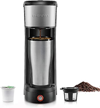 Chefman InstaCoffee Single Serve Coffee Maker Compatible with K-Cup Pods, Grounds & Loose-Leaf Tea w/Reusable Filter, Com