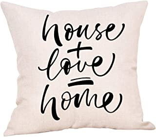 Ogiselestyle Rustic Decoration Farmhouse Decor House Love Home Decorative Cotton Linen Throw Pillow Case Cushion Cover with Words for Sofa Couch 18x18