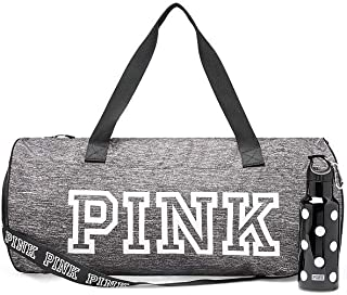 Victoria 's Secret Gray duffle bag PINK friday duffel bag with plastic water bottle