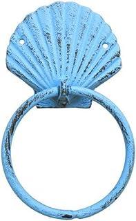 "Hampton Nautical Rustic Seashell Towel Holder 8.5"" Decoration-Antique Vintage Cast Iron, Solid Light Blue"