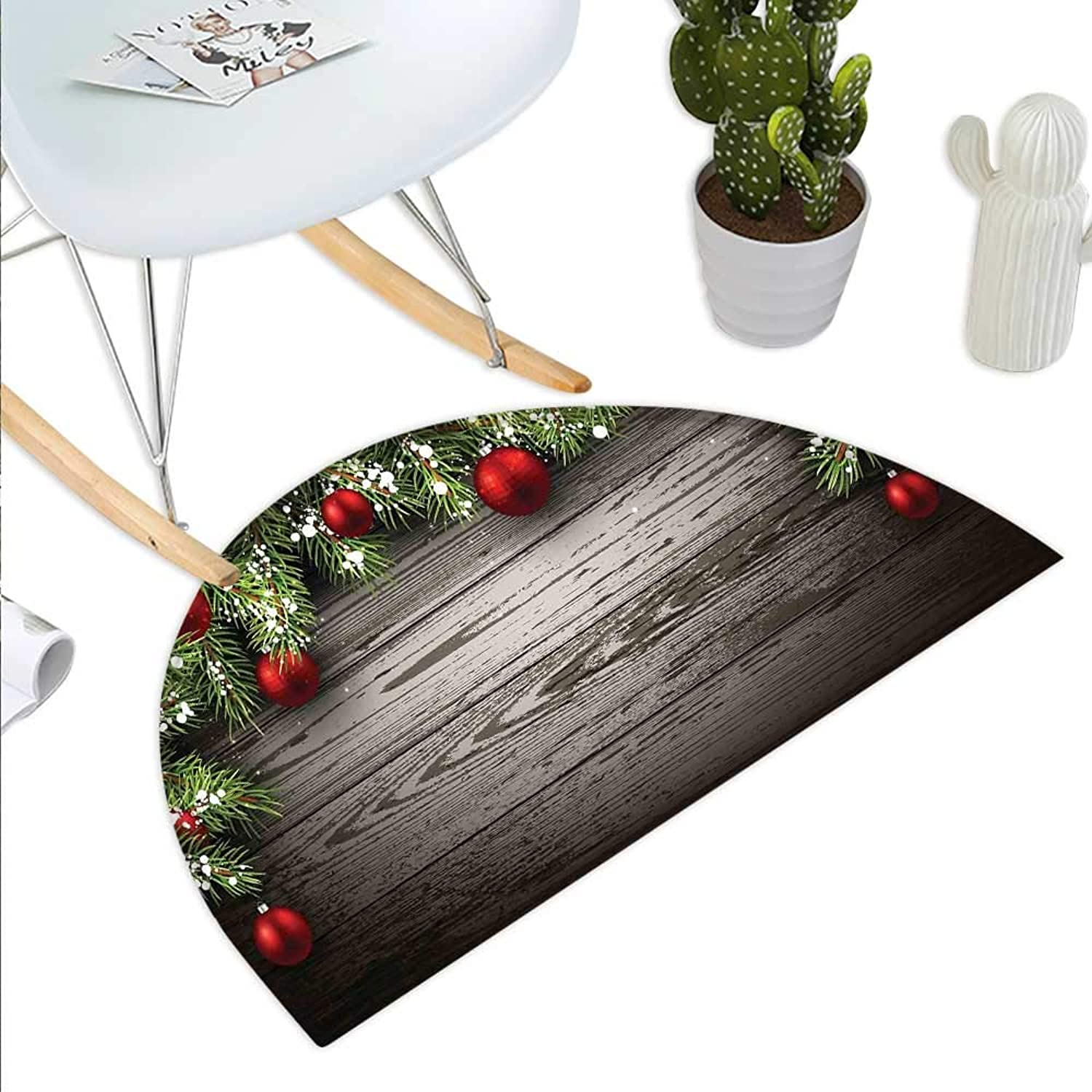 Christmas Semicircle Doormat Ornaments Nostalgic Historical Celebration and Reunion Religious Themed Print Halfmoon doormats H 35.4  xD 53.1  Red Brown